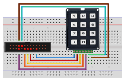 Matrix keypad interfacing - Circuit